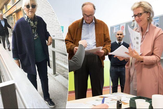L'ancien roi des Belges Albert II et l'ancienne reine Paola (à gauche), la princesse Astrid de Belgique et son mari le prince Lorenz (à droite), à Bruxelles, le 14 octobre 2018