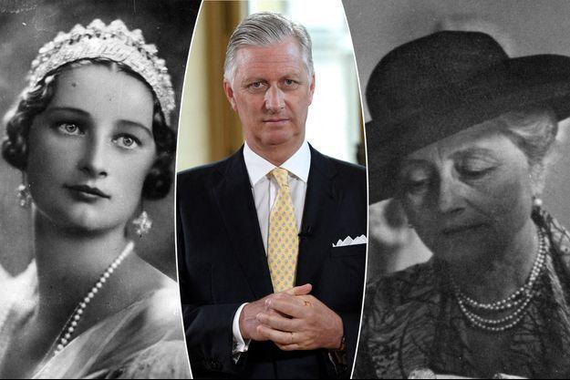 Le roi des Belges Philippe, le 16 juillet 2020. A gauche, sa grand-mère paternelle, la reine des Belges Astrid (alors encore princesse) vers 1920. A droite, sa grand-mère maternelle, la princesse Luisa Ruffo di Calabria, en 1960