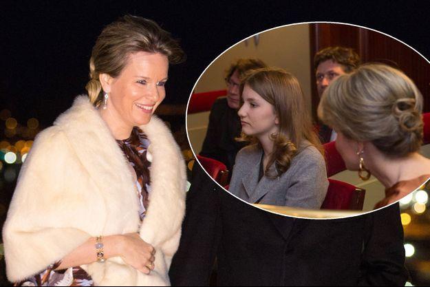 La reine Mathilde de Belgique le 15 mars 2018. En vignette : avec sa fille la princesse Elisabeth à Louvain, le 28 mars 2018