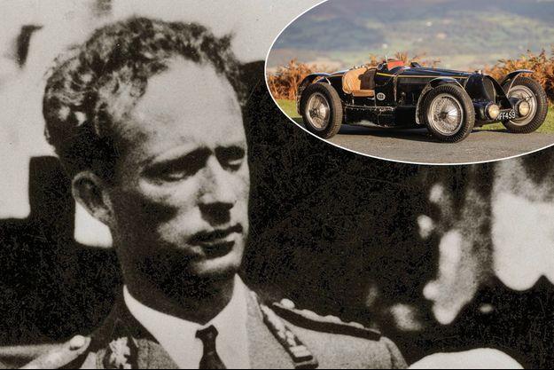 Le roi des Belges Léopold III, le 17 mai 1936. En vignette, sa Bugatti Type 59 vendue aux enchères à Londres, le 5 septembre 2020