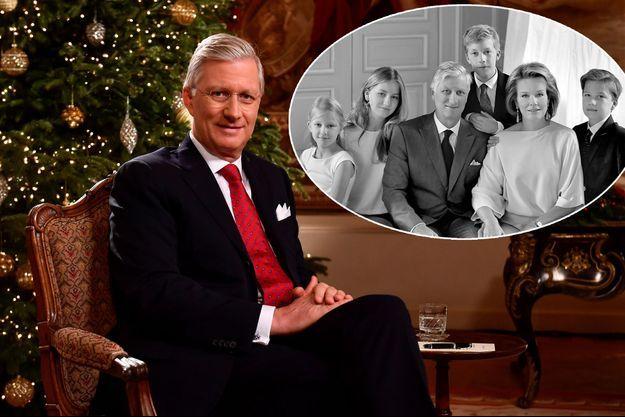 Le roi des Belges Philippe le 19 décembre 2017. En médaillon: détail de la photo de Noël 2017 de la famille royale de Belgique