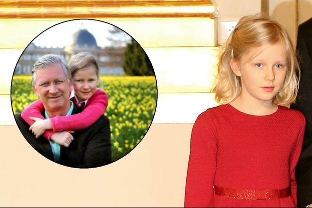 La princesse Éléonore de Belgique, le 15 décembre 2015. En médaillon: le roi des Belges Philippe et sa fille Éléonore, vidéo du 15 avril 2016