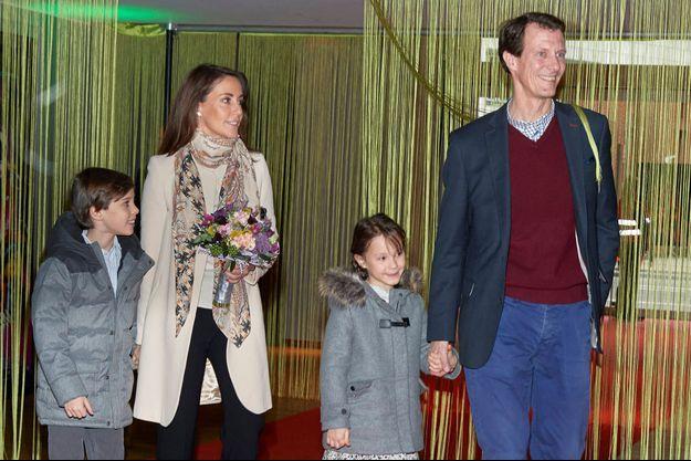 La princesse Marie et le prince Joachim de Danemark et leurs enfants le prince Henrik et la princesse Athena à Copenhague, le 3 février 2019