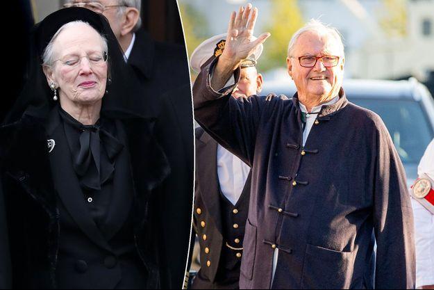 La reine Margrethe II de Danemark aux obsèques de son mari le prince Henrik (à droite le 29 août 2017), à Copenhague le 20 février 2018