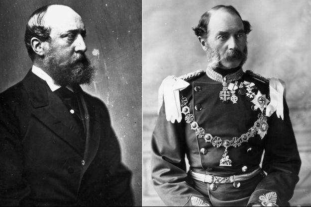 Le roi Christian IX de Danemark, vers 1870 (à droite) et vers 1890 (à gauche)