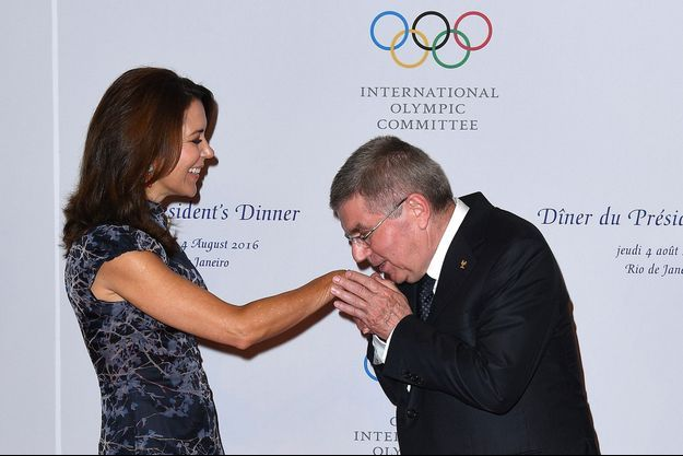 La princesse Mary de Danemark avec le président du CIO Thomas Bach à Rio de Janeiro, le 4 août 2016