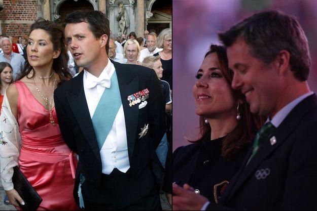 Le prince Frederik de Danemark et Mary Donaldson à Copenhague le 24 août 2002 et aux JO de Rio le 5 août 2016