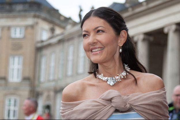 Alexandra Manley, comtesse de Frederiksborg, le 7 juin 2019 pour le dîner des 50 ans de son ex-mari, le prince Joachim de Danemark