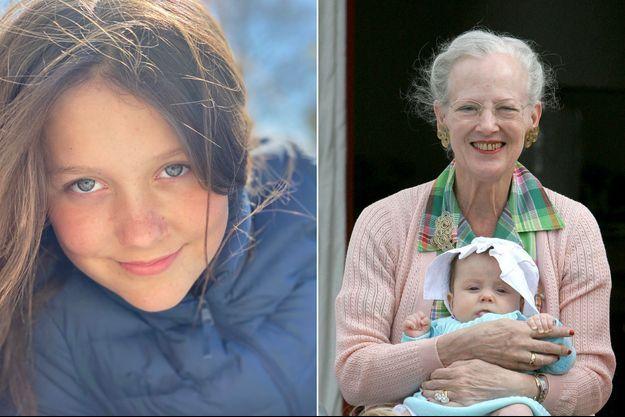 La princesse Isabella de Danemark avec sa grand-mère la reine Margrethe II, le 3 août 2007. A gauche, photo diffusée pour ses 13 ans, le 21 avril 2020
