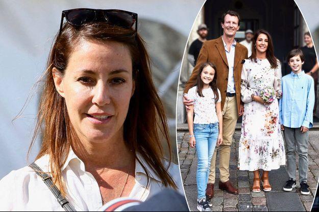 La princesse Marie de Danemark, le 8 août 2021. En vignette, avec le prince Joachim et leurs enfants, le 11 août 2021