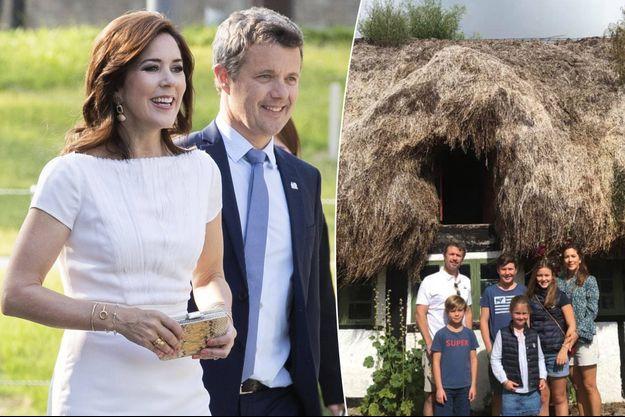 La princesse Mary et le prince Frederik de Danemark, le 22 mai 2019. A droite, avec leurs enfants sur l'île de Læsø le 9 août 2019