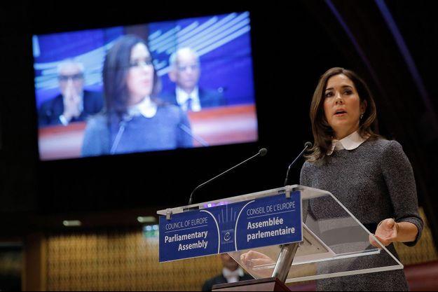 La princesse Mary de Danemark au Conseil de l'Europe à Strasbourg, le 23 janvier 2018