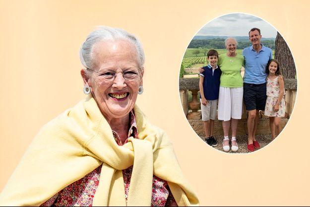 La reine Margrethe II de Danemark à Aalborg, le 26 juillet 2021. En vignette, avec les princes Joachim et Henrik et la princesse Athena à Cayx, mi-août 2021