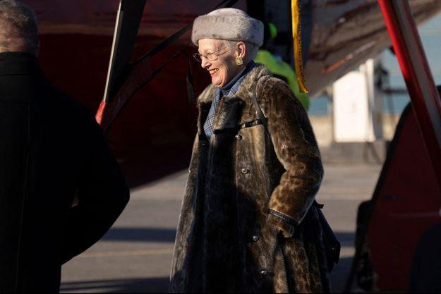 La reine Margrethe II de Danemark à son arrivée au Groenland, le 8 octobre 2021