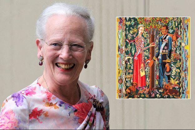 La reine Margrethe II de Danemark, le 16 juin 2020. En vignette, la tapisserie la montrant avec son mari le prince consort Henrik