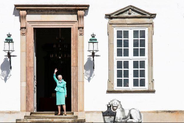 La reine Margrethe II de Danemark au château de Fredensborg, le 16 avril 2020 jour de ses 80 ans