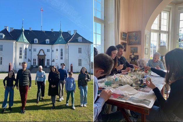 La reine Margrethe II de Danemark, la princesse Mary, le prince Frederik et leurs enfants au château de Marselisborg. Photos diffusées le 31 mars 2021
