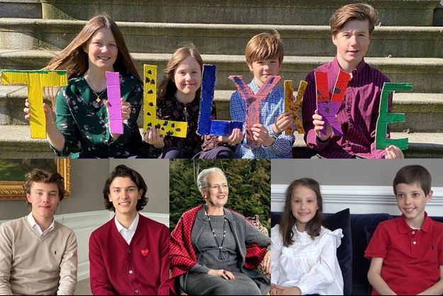 La reine Margrethe II de Danemark et ses huits petits-enfants lui souhaitant un joyeux anniversaire pour ses 80 ans