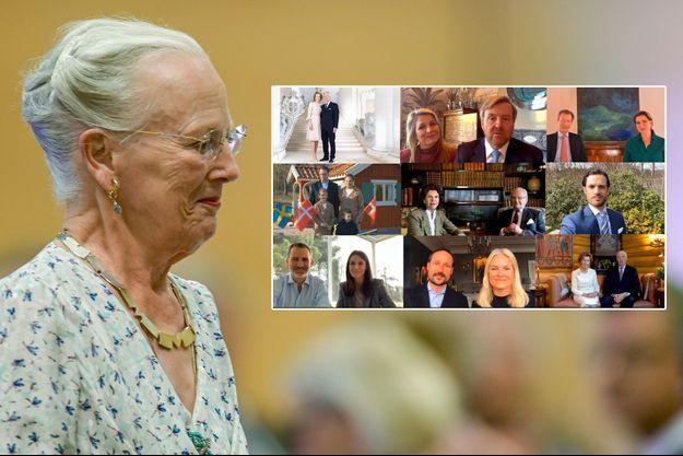 La reine Margrethe II de Danemark, le 4 septembre 2019. En vignette, les membres des familles royales européennes lui souhaitent son 80e anniversaire en vidéo le 16 avril 2020