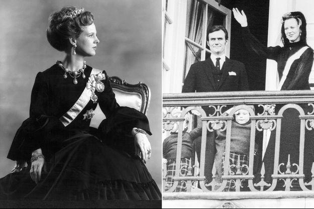 La reine Margrethe II de Danemark en 1972. A droite: au balcon du palais de Christiansborg avec le prince Henrik et leurs fils, le 15 janvier 1972