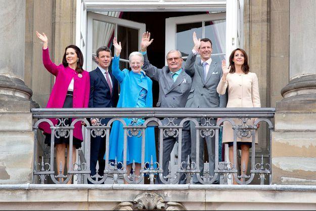La famille royale de Danemrak à Copenhague pour les 76 ans de la reine Margrethe II, le 16 avril 2016