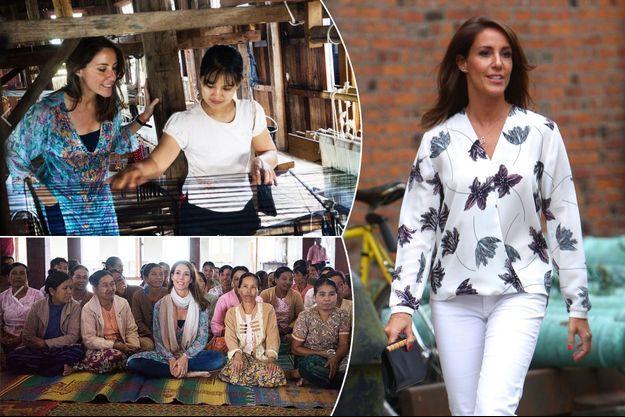 La princesse Marie de Danemark à Copenhague le 22 août 2016. En médaillons à gauche, lors de son voyage en Birmanie à l'automne 2016