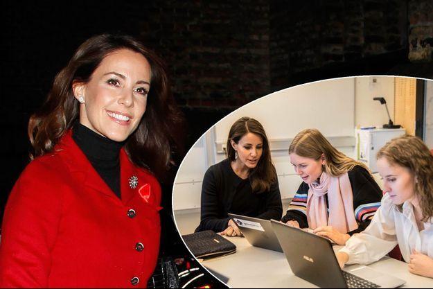 La princesse Marie de Danemark le 26 novembre 2017. En vignette, à Vejen le 16 janvier 2018