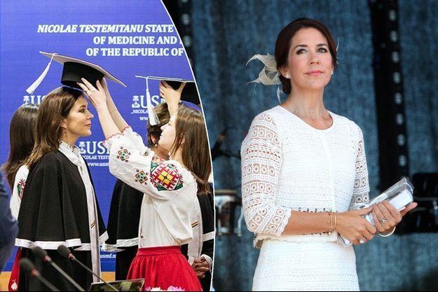 La princesse Mary de Danemark, le 27 août 2016. A gauche : Mary en Moldavie, le 24 novembre 2016