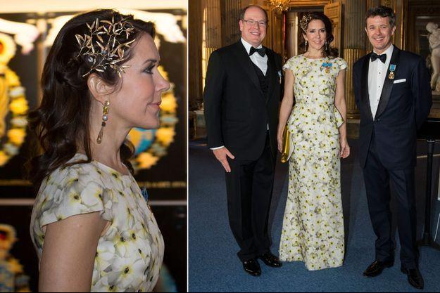 La princesse Mary de Danemark à Stockholm, le 30 avril. À gauche, avec le prince Albert II de Monaco et le prince Frederik de Danemark, son époux.