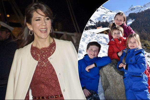 La princesse Mary de Danemark le 25 janvier 2017. A droite, les princesses Isabella et Josephine et les princes Christian et Vincent au ski à Verbier en février 2017