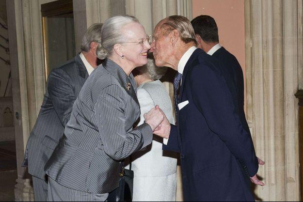 La reine Margrethe II de Danemark et le prince Philip au château de Windsor, le 18 mai 2012
