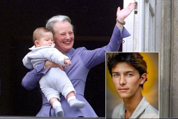 Le prince Nikolai de Danemark avec sa grand-mère la reine Margrethe II, le 15 avril 2000. En vignette, photo diffusée pour ses 21 ans, le 28 août 2020