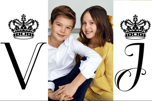 Le prince Vincent et la princesse Josephine de Danemark ont eu chacun leur propre monogramme royal pour leurs 10 ans, le 8 janvier 2021