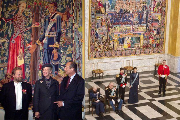 La reine Margrethe II de Danemark avec Jacques Chirac et Bjorn Norgaard à Paris, le 8 octobre 1999 - A droite: la reine Margrethe II, les princes Henrik et Frederik et la princesse Mary à Copenhague le 6 janvier 2014