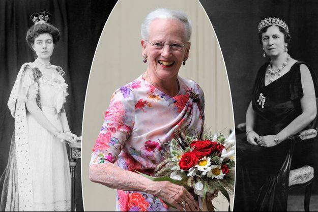 La reine Margrethe II de Danemark, le 16 juin 2020. A gauche, sa grand-mère maternelle Margaret de Connaught, vers 1905. A droite, sa grand-mère paternelle Alexandrine de Mecklembourg-Schwerin, le 15 septembre 1939