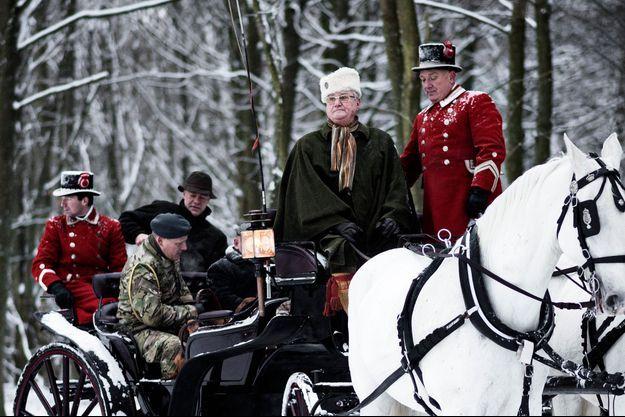 Le prince consort Henrik de Danemark à la chasse dans la forêt de Gribskov, le 14 janvier 2016