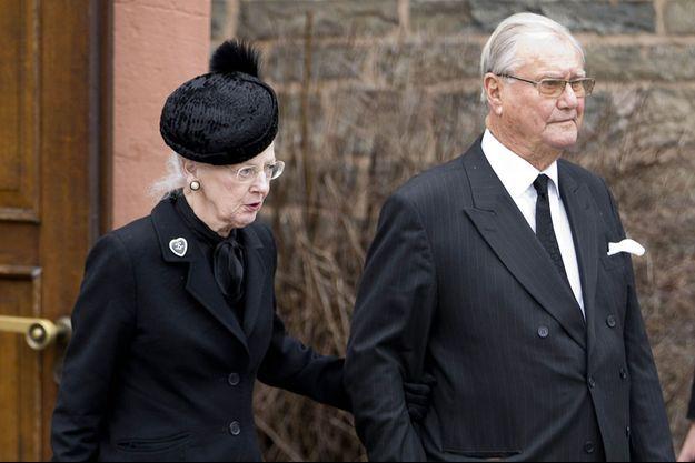 La reine Margrethe II de Danemark et le prince Henrik, aux obsèques du prince Richard de Sayn-Wittgenstein-Berleburg en Allemagne le 21 mars 2017