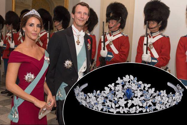 La princesse Marie et le prince Joachim de Danemark à Copenhague, le 28 août 2018. En médaillon, le diadème Mauboussin porté par Marie
