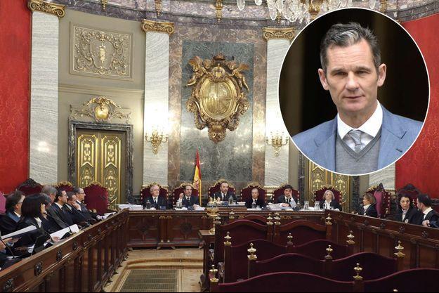 Audience de la Cour suprême espagnole dans l'affaire Noos le 21 mars 2018. En vignette, Inaki Urdangarin le 23 février 2017.