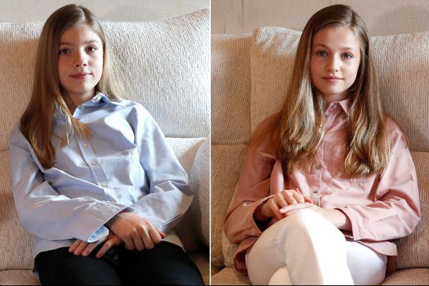 Les princesses Sofia et Leonor d'Espagne à Madrid, le 23 avril 2020