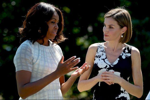 La reine Letizia d'Espagne et la Première dame américaine Michelle Obama