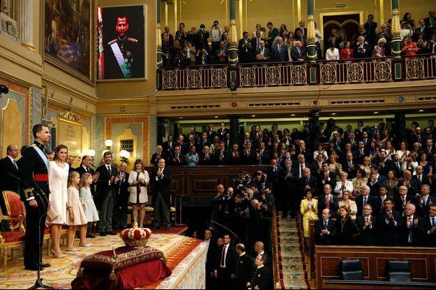 Le roi Felipe VI et la reine Letizia au Parlement espagnol, à Madrid/