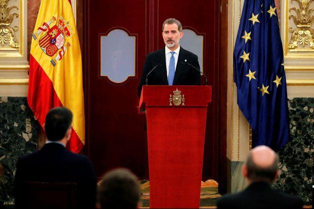 Le roi Felipe VI d'Espagne au Congrès des députés à Madrid, le 23 février 2021