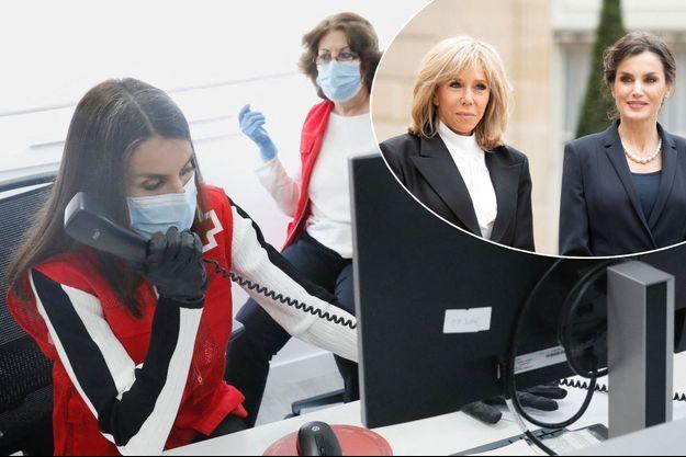 La reine Letizia d'Espagne au siège de la Croix-Rouge espagnole à Madrid, le 11 mai 2020. En vignette, avec Brigitte Macron à Paris, le 11 mars 2020