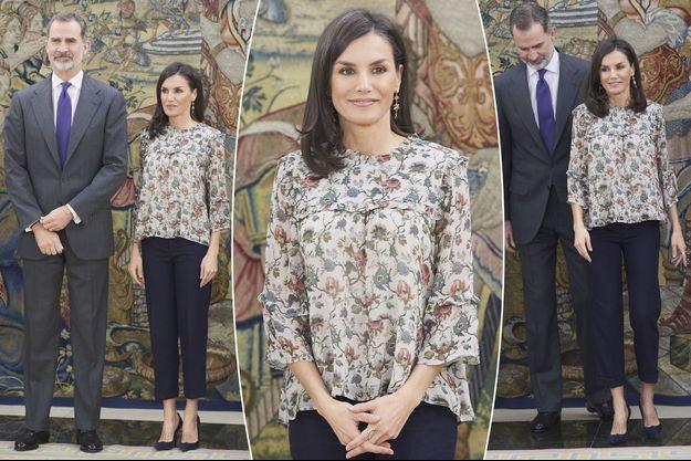 Le look de la reine Letizia d'Espagne à Madrid, le 25 février 2020
