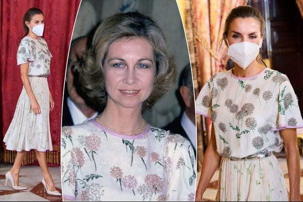 La reine Letizia d'Espagne à Madrid le 7 septembre 2021. La reine Sofia à Rome en 1981