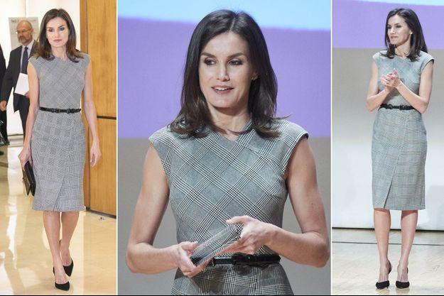 Le look de la reine Letizia d'Espagne à Madrid, le 5 mars 2019