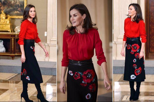 La reine Letizia d'Espagne à Madrid, le 14 janvier 2019