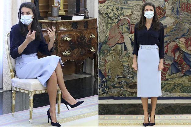 La reine Letizia d'Espagne à Madrid, le 29 octobre 2020