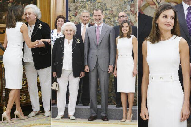 La reine Letizia et le roi Felipe VI d'Espagne à Madrid avec l'infante Pilar, le 10 juillet 2018